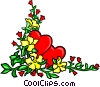 Vector Clipart graphic  of a Floral design with hearts