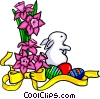 Floral design with rabbit Vector Clip Art picture