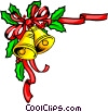Christmas bells with holly Vector Clip Art picture