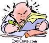 Vector Clipart picture  of a Cartoon man writing
