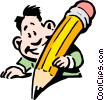 Cartoon man writing Vector Clipart graphic