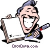 Cartoon man with pen and contract Vector Clip Art picture