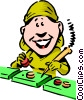 Vector Clip Art graphic  of a cartoon assembly worker