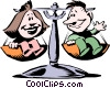 Vector Clip Art graphic  of a Cartoon scales