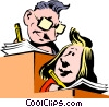 Cartoon office workers writing Vector Clip Art picture
