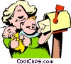 Cartoon mother getting the mail Vector Clipart graphic