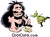 Caveman preparing fire Vector Clip Art picture