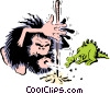 Caveman lighting fire Vector Clipart image