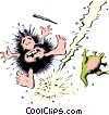 Vector Clipart illustration  of a Caveman struck by lightening