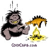 Caveman cooking dinner Vector Clipart graphic