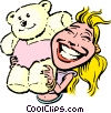 Vector Clip Art image  of a Cartoon woman with teddy bear
