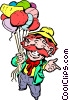 Vector Clip Art graphic  of a Cartoon huckster with balloons