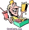 Vector Clip Art graphic  of a Cartoon food vendor