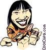 Cartoon Chinese girl with chopsticks Vector Clipart graphic