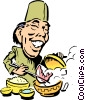 Cartoon Japanese chef Vector Clipart picture