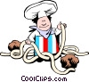 Cartoon pasta chef Vector Clip Art graphic