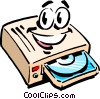 Cartoon CD-ROM drive Vector Clipart graphic