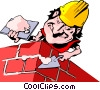 Vector Clip Art image  of a Cartoon bricklayer