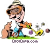 Vector Clipart image  of a Cartoon lawn care worker