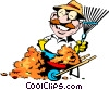 Vector Clip Art graphic  of a Cartoon leaf raker