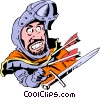 Vector Clip Art picture  of a Cartoon medieval guard