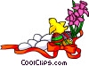 Vector Clipart illustration  of a Easter background with eggs