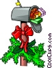 Christmas mailbox with wreath