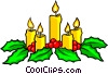Festive Christmas candles Vector Clipart illustration