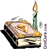 Vector Clipart illustration  of a Cartoon book and candle