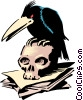 Vector Clipart image  of a Cartoon crow and skull