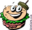 Vector Clip Art graphic  of a Cartoon hamburger