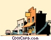Vector Clip Art image  of a Cartoon western town