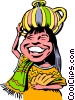 Vector Clipart graphic  of a Cartoon native girl