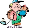 Vector Clip Art graphic  of a Cartoon boy with toys