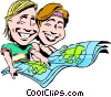 Cartoon couple on vacation Vector Clipart illustration