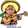 Vector Clip Art graphic  of a Cartoon Mexican musician