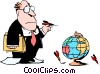 Cartoon executive with globe and darts Vector Clip Art image