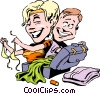 Cartoon couple on vacation Vector Clip Art picture