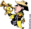 Vector Clip Art image  of a Cartoon bugle player