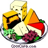 Cheese platter Vector Clipart illustration