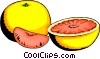 Grapefruit and slices Vector Clipart graphic