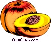 Vector Clipart illustration  of a Sliced peaches