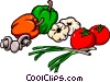 Vector Clipart image  of a Peppers onions tomatoes garlic mushrooms