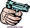 Vector Clip Art picture  of a Hand holding a gun