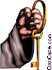Hand with key ring Vector Clip Art graphic