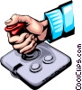 Hand with joystick Vector Clipart picture