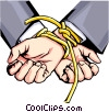 Vector Clip Art picture  of a Hands tied with rope