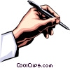 Vector Clip Art image  of a Hand writing with pen