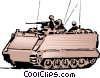 Vector Clip Art image  of an Army personnel in tank