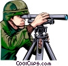 Military man looking through scope Vector Clip Art picture